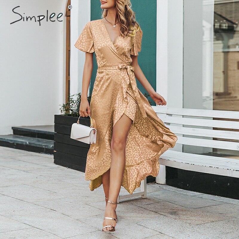 SimpleeLeopard Print Party Dress Sexy V-neck Short Sleeve Dots Plus Size Dress Women Elegant Split Lace Ruffled Belt Long Dress