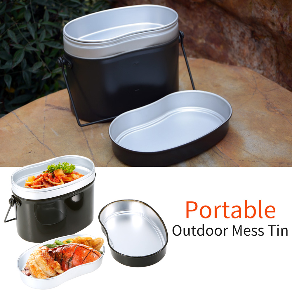 Outdoor Tableware Outdoor Stove Mess Tin Set Military Lunch Box Hiking Camping Lunch Case Pot Bowl Cookware Survival BentoOutdoor Tablewares   -