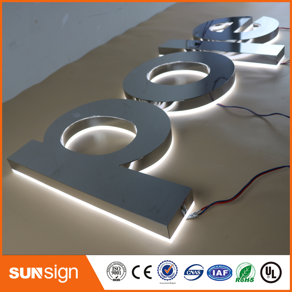 Wholesale Metal Edge-lit Letter Stainless Steel With Acrylic Back Sliver Mirror Led Signage For Shop Store Mall Signs