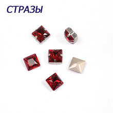 CTPA3bI 4447 Princess Square Siam Beads For Jewelry Making Glass Charming Rhinestones Needlework Accessories Strass Crafts