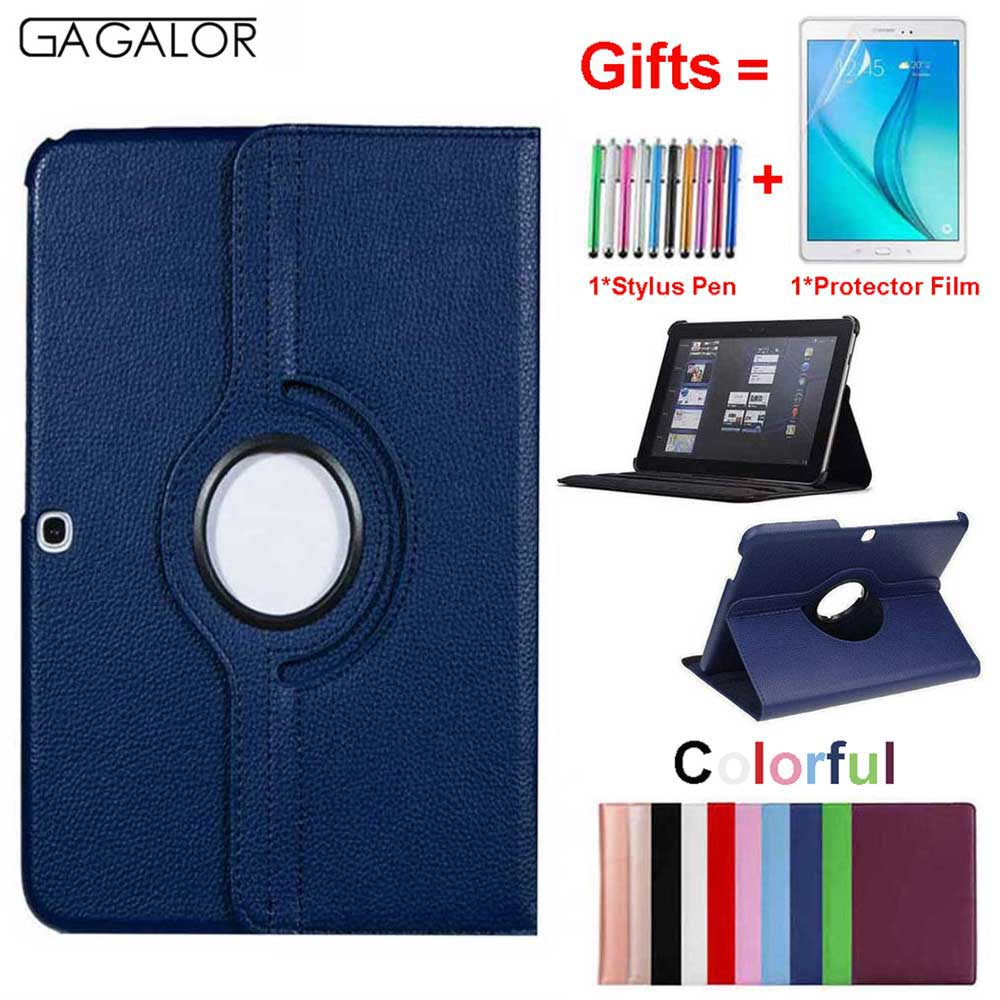 <font><b>360</b></font> Rotating Case Cover For Samsung Galaxy Tab 4 <font><b>10.1</b></font> Tablet SM-T530 T531 T535 T530 Pu Leather Stand Case Funda With Pen+Film image