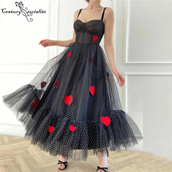 Black Prom Dresses Sweetheart Zipper Back Tea-Length Red Appliques Evening Formal Gowns Vestido De Festa red mermaid prom dresses 2020 sweetheart zipper back sweep train wedding formal party gowns evening dress vestidos de festa