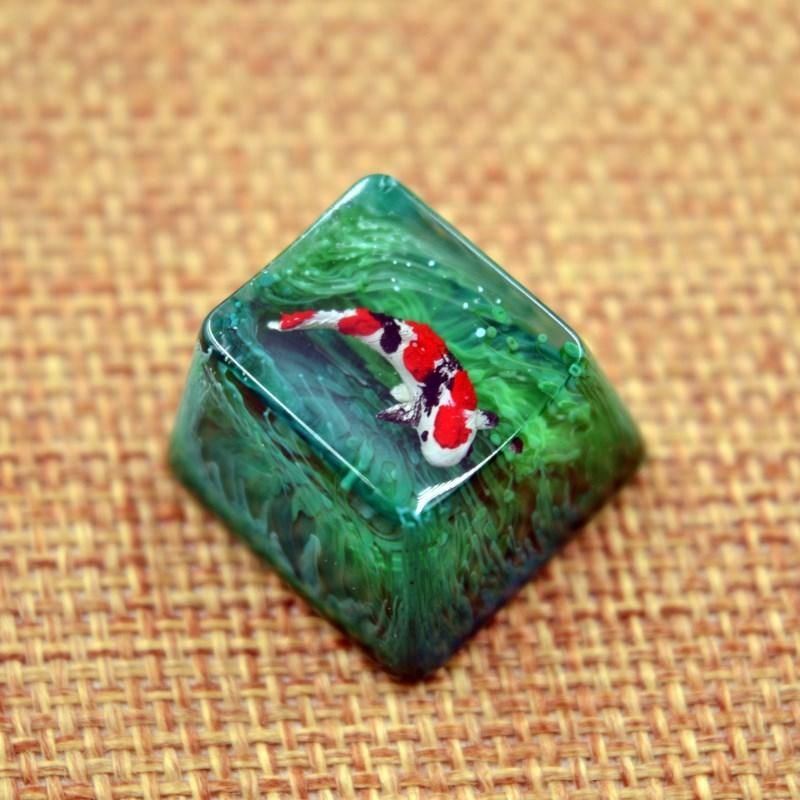 1 Pc Handmade Koi Fish Resin Key Cap For MX Switches Mechanical Keyboard Creative Customized Backlit Keycap