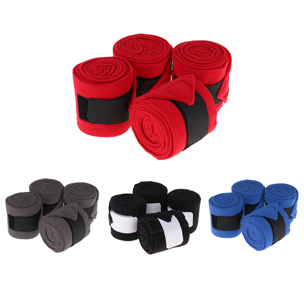 4 Rolls Fleece Polo Leg Wraps Horse Equestrian Boots Bracer Leg Protection Wraps