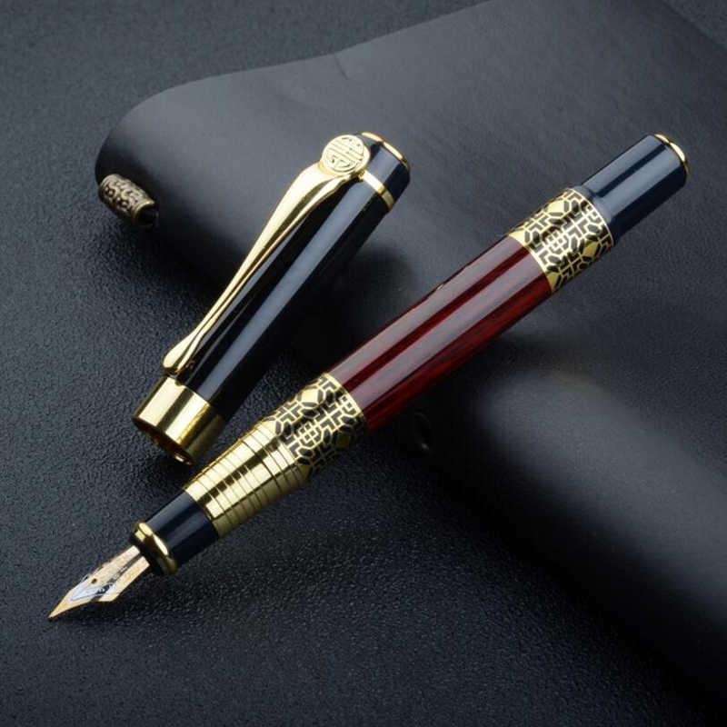 Design clássico de negócios de metal caneta de tinta de tinta de luxo rosa de madeira estudante escola escrita presente caneta comprar 2 canetas enviar presente