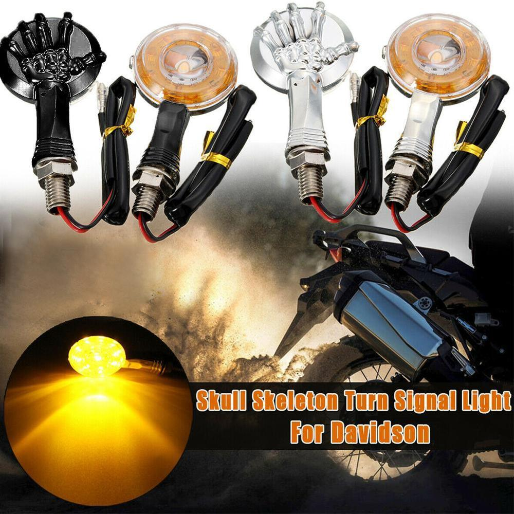 1 Pair 12V Skull Skeleton Chrome LED Motorcycle Turn Signal Lights Indicator Lamp Cable Car Light Turn Signal Lights