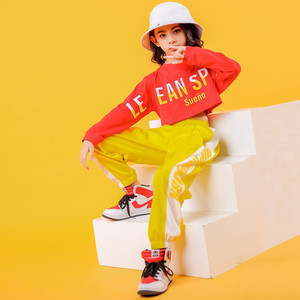 Image 1 - 2019 Childrens Jazz Dance Costumes Girls Hip Hop Wear White sweatershirt Yellow Pants Street Dance Performance Clothings