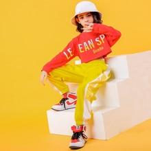 2019 çocuk caz dans kostümleri kız hip hop giyim beyaz kazak sarı pantolon sokak dans performansı giyim