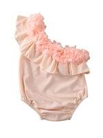 Sweet Kid Baby Girl Ruffle One Shoulder Swimming Bodysuit Solid Pink Swimwear