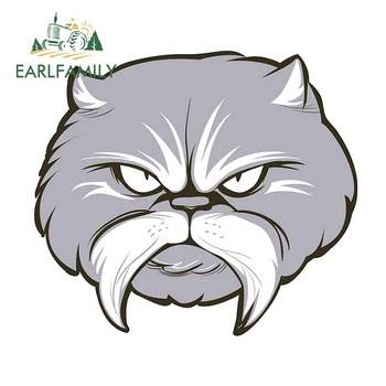 EARLFAMILY 13cm x 11.8cm for Felis Diabeetus Cat Car Sticker Personality Occlusion Scratch Waterproof RV VAN Window Decal image