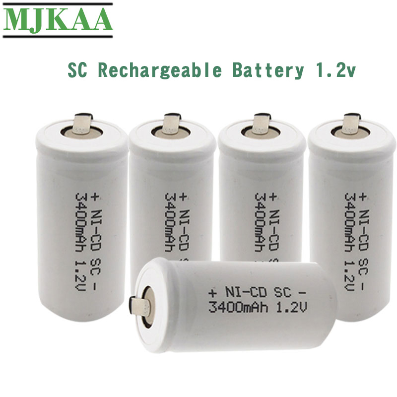 MJKAA SC Battery 3400mAh 1.2V 22*42 Ni-CD Rechargeable Batteries With Extension Cord For Electric Drill Screwdriver