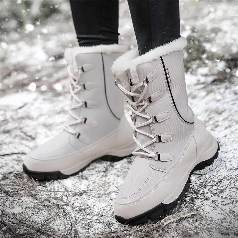 Kadın Botları Su Geçirmez Kış Ayakkabı Kadın Kar Botları Platformu Tutmak Sıcak Ayak Bileği Kış Çizmeler Ile Kalın Kürk Topuklu Botas Mujer