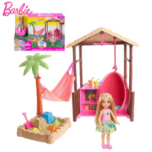 Original Barbie Chelsea Doll Tiki Hut Travel-Themed Playset Sand Toy Doll Accessories Girls Dolls House Toys for Children Boneca barbie doll barbie shiny holiday home playset furniture miniatures dollhouse kit glam getaway house fully furnised baby girl toy