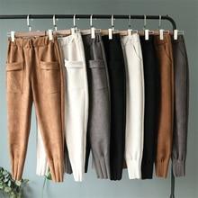 Хорошее качество, замшевые штаны-шаровары, женские осенние свободные повседневные штаны, модные штаны с большим карманом, эластичные штаны с высокой талией размера плюс, женские брюки