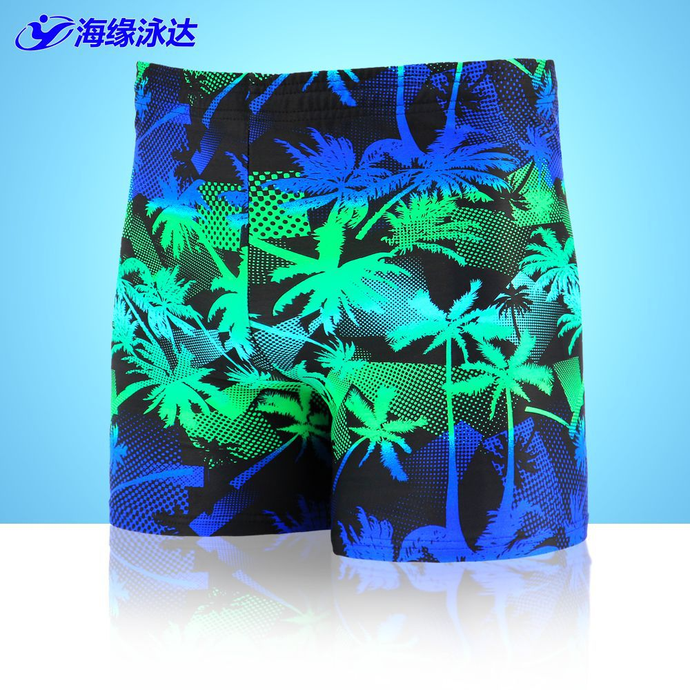 2017 New Style Beach Swimming Trunks Seaside Palm Printed Swimming Trunks Men Plus-sized Plus-sized AussieBum