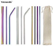 Reusable Metal Drinking Straws304 Stainless Steel Sturdy Bent Straight Drinks Straw foldable straw Kitchen accessories