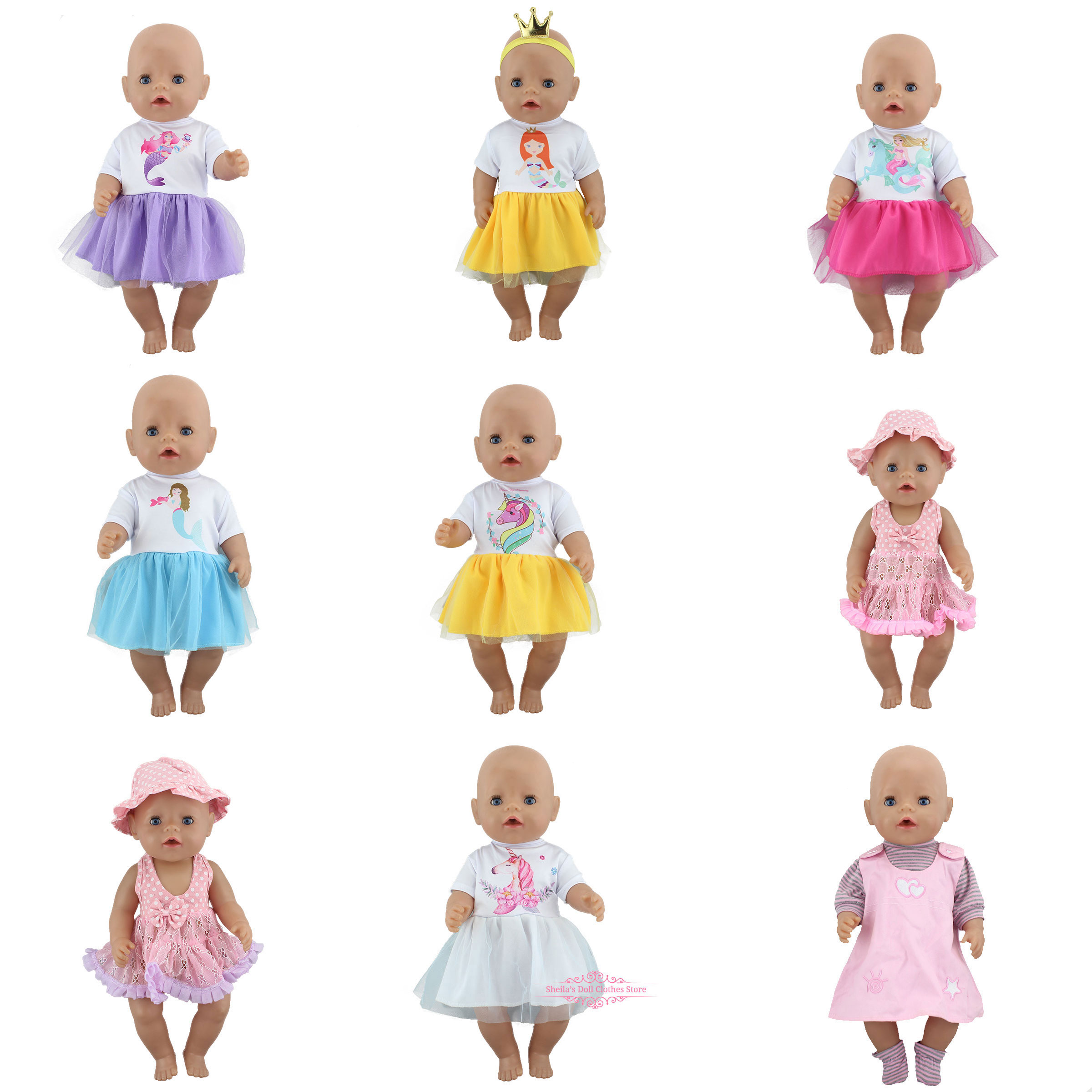 New Dress Fit For 17 Inch 43cm Baby Doll, Dolls Clothes And Accessories