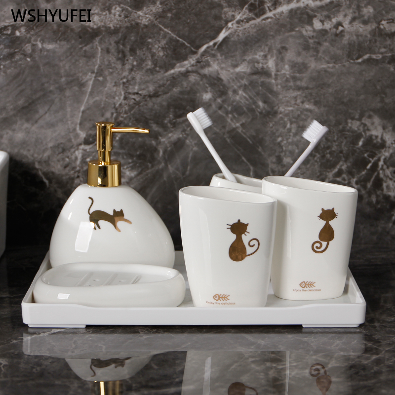 Modern ceramic golden cat bathroom accessories set washing tool bottle mouth cup soap toothbrush holder household items image