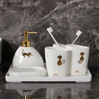 Modern ceramic golden cat bathroom accessories set washing tool bottle mouth cup soap toothbrush holder household items
