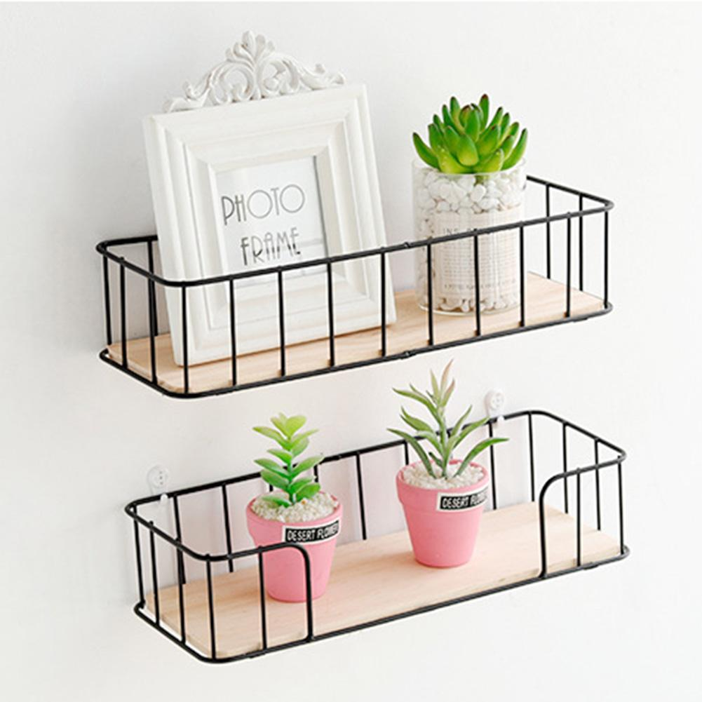 Wall-mounted Storage Rack Wrought Iron Wooden Wall Rack Living Room Kitchen Wall Decoration Storage Organizer Home DIY Fun Rack
