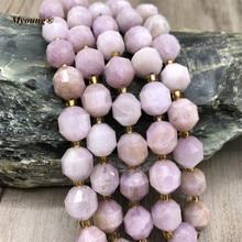 Genuine Natural Faceted Round Kunzite Crystal Necklace Bracelete Loose Stone Beads,Purple Spodumene Column Space Beads
