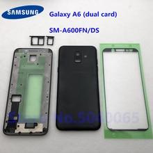 Arka pil kapağı ile Samsung Galaxy A6 SM A600FN/DS A600 2018 arka kapı tam konut A6 çift kart Sticker