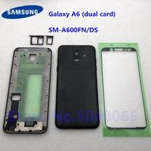Tylna pokrywa baterii z przycisk do Samsung Galaxy A6 SM A600FN/DS A600 2018 tylne drzwi pełna obudowa A6 podwójny karty naklejki