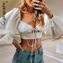Cryptographic Women Shirts And Blouses 2019 Solid Lantern Sleeve V-Neck Lace Up Shirts Hollow Out Drawstring Fashion Crop Tops cryptographic solid lantern sleeve round neck satin shirts bow sexy backless fashion crop tops lace up blouses for women 2019