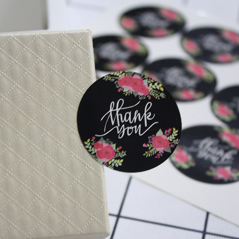 120 Pcs/lot Black Flower Thank You Circular Sealing Label For Gifts Baking Packaging For Cake Cookie Box Envelop Diary Stickers