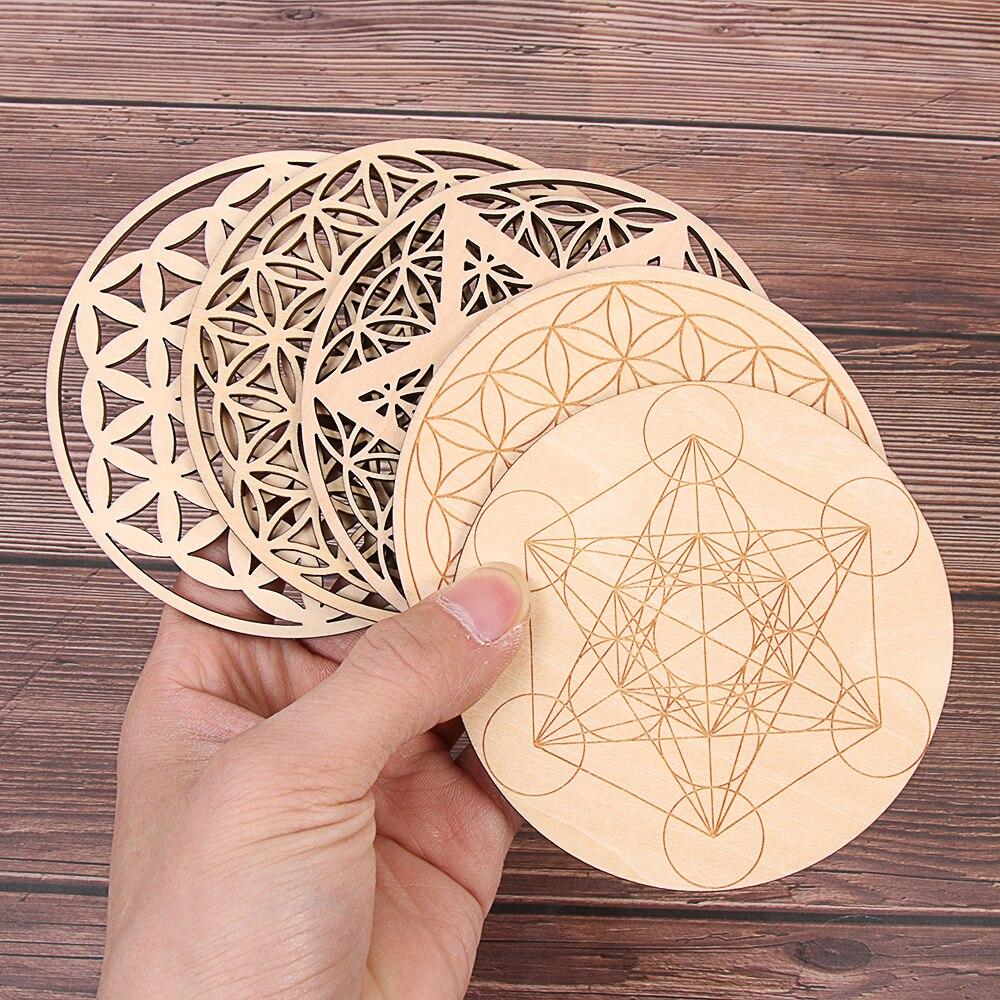 1 шт. чакра, цветок жизни, натуральный символ, 7 видов, круглые деревянные круги, резные подставки для камня, набор кристаллов, сделай сам, Деко...