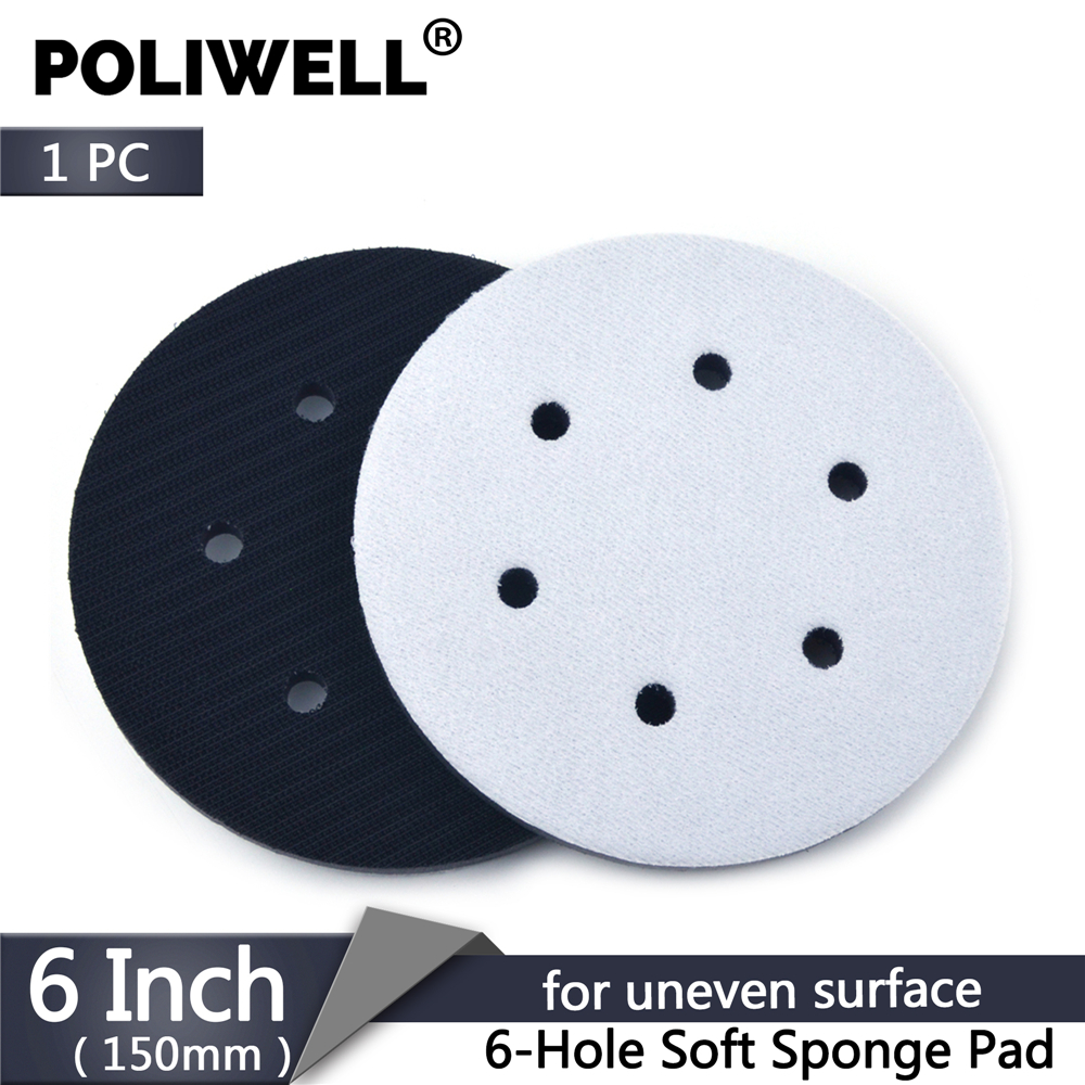 POLIWELL 1PC 6 Inch 150mm 6 Holes Soft Sponge Interface Pad Hook & Loop Backing Pad Disc Protection Polishing Abrasive Tools
