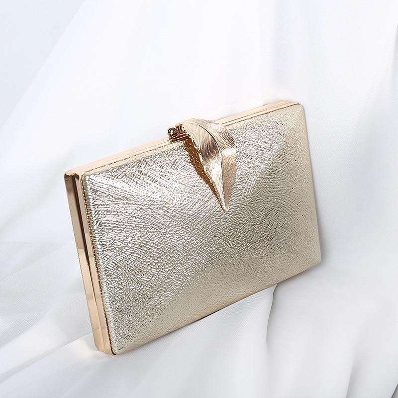 Luxy Moon Women's Wedding Clutch Bag Gold Party Purse Ladies Handbag Party Purse For Bridal Metal Leaf Lock Shoulder Bag  ZD1524