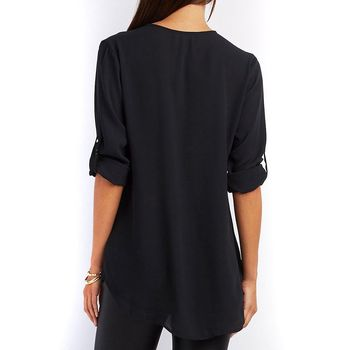 Summer Women Cool Loose Shirt Deep V Neck Chiffon Blouse Casual Ladies Tops Sexy Zipper Pullover Plus Size Long Sleeve Fashion 3
