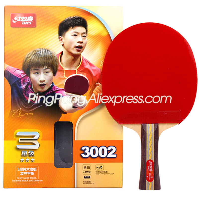 DHS 3-Star Table Tennis Racket (3002, 3006) With Rubber (PF4-1) Original DHS Ping Pong Bat