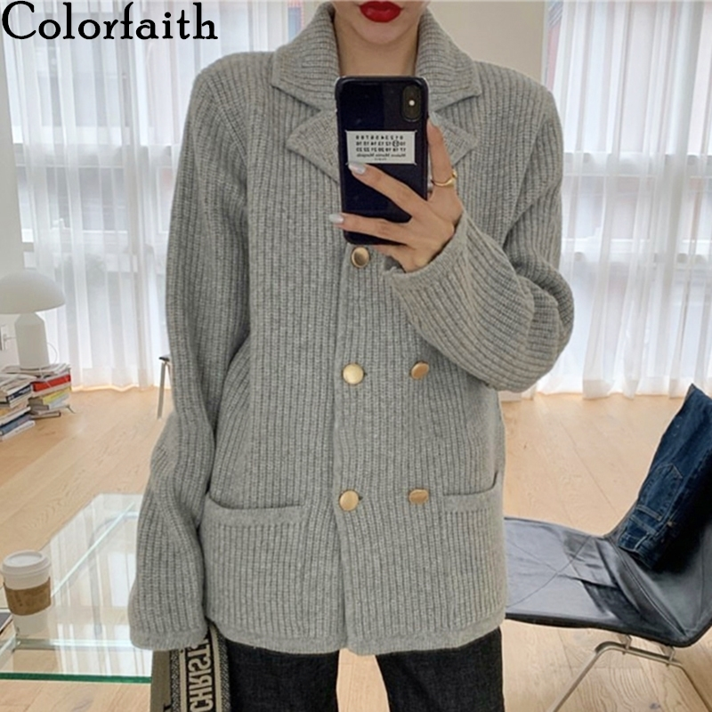 Colorfaith New 2019 Autumn Winter Women's Sweaters Double Breast Casual Turn-down Collar Knitted Cardigans Pockets Tops SWC7780