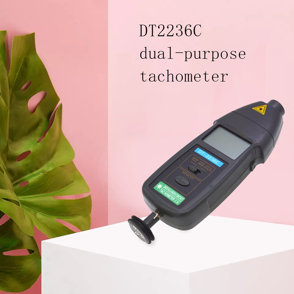 DT2236C 2 In 1 Speed Detector Meter Laser RPM Tachometer LED Digital Optical Contact Tachometer Detector Meter