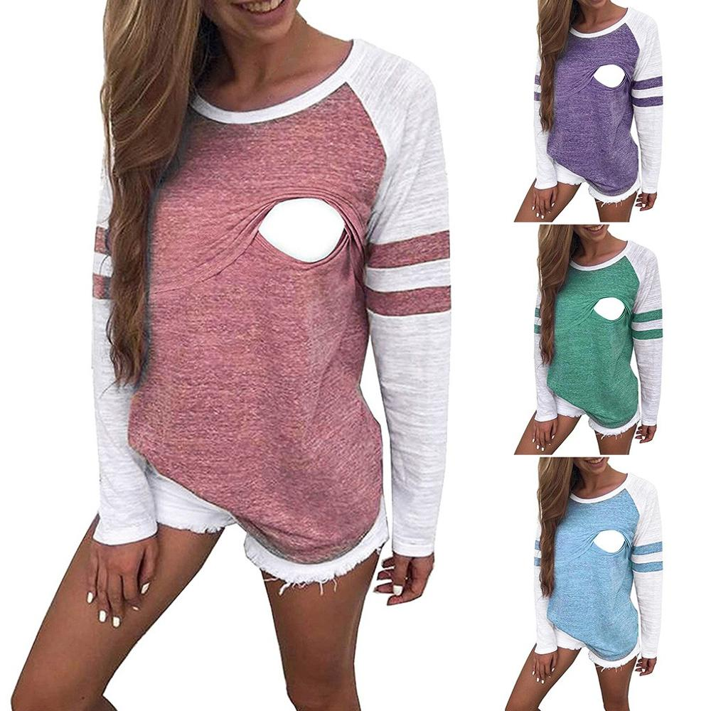 Women Nursing Clothes Autumn Long Sleeve T-shirt Nursing Patchwork Color Tops Breastfeeding Clothes Blouse Pregnant Clothes Wy4