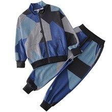 На весну и осень, модный тренировочный костюм для мальчиков Дети Костюмы комплект Повседневное Волшебный цвет 2 шт./компл. спортивный костюм, кардиган, пальто+ брюки для девочек