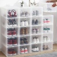 AJ 신발 상자 높은 상위 농구 신발 하드 소재 2 팩과 방진 스토리지 박스 강화 된 폴더 형 aj 투명 신발
