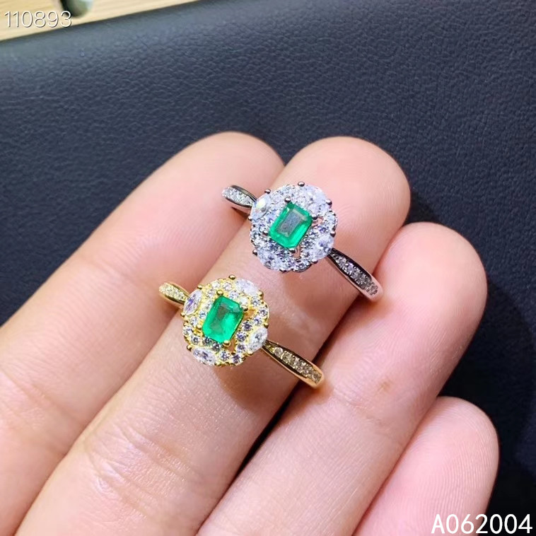 KJJEAXCMY fine jewelry 925 sterling silver inlaid natural gemstone Emerald Female new ring vintage Support Detection