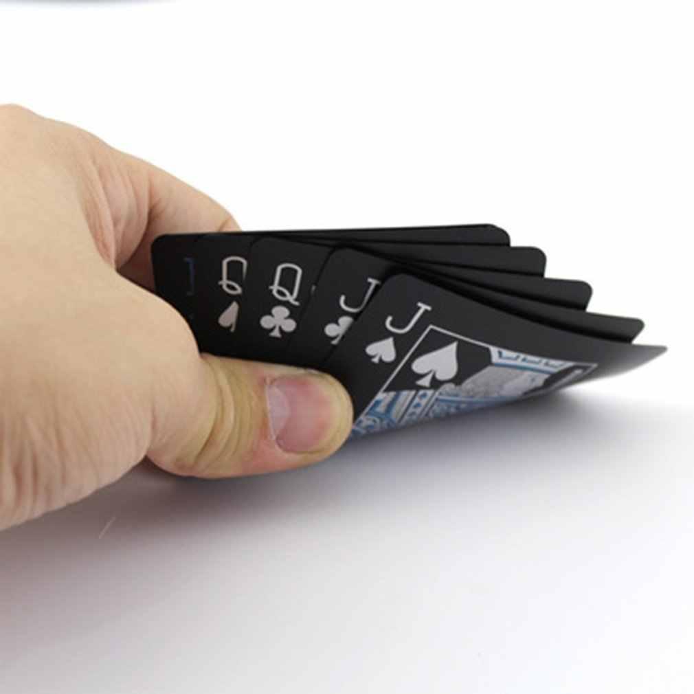 PVC Poker Plastik Tahan Air Bermain Kartu Warna Hitam Kartu Poker Klasik Set Trik Sulap Alat Permainan Poker