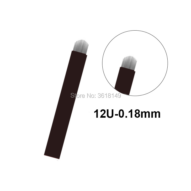 0 18mm Lamina Tebori Microblading Needles 12 Flex 18U Tattoo Blade Agulha Tebori for Permanent Makeup Manual Pen Eyebrow Lip in Tattoo Needles from Beauty Health