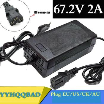 67.2V 2A Lithium Battery Charger For 60V Li-ion battery electric bike Charger with PC connector IEC connector 16s 67 2v 1 5a lithium battery charger for electric bike 60v li ion battery charger 3p gx16 connector