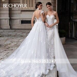 Image 5 - BECHOYER Vestido de novia con tren desmontable K149, traje de novia con Apliques de encaje 3D, flores, ilusión de sirena