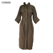 CINESSD Safari Long Maxi Dress Women Autumn Winter Linen Batwing Sleeve Stand Neck Fit And Flare Robe Dress Vestidos Plus Size