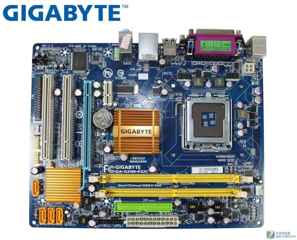 ต้นฉบับเมนบอร์ด GIGABYTE GA-G31M-ES2C LGA 775 DDR2 G31M-ES2C ใช้เดสก์ท็อปเมนบอร์ด