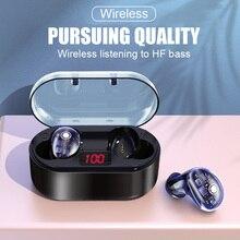 CALETOP Bluetooth 5.0 TWS Earphone LED Power Display Earbuds HIFI 6D Stereo IPX6 Waterproof Sport Headphone Transparent