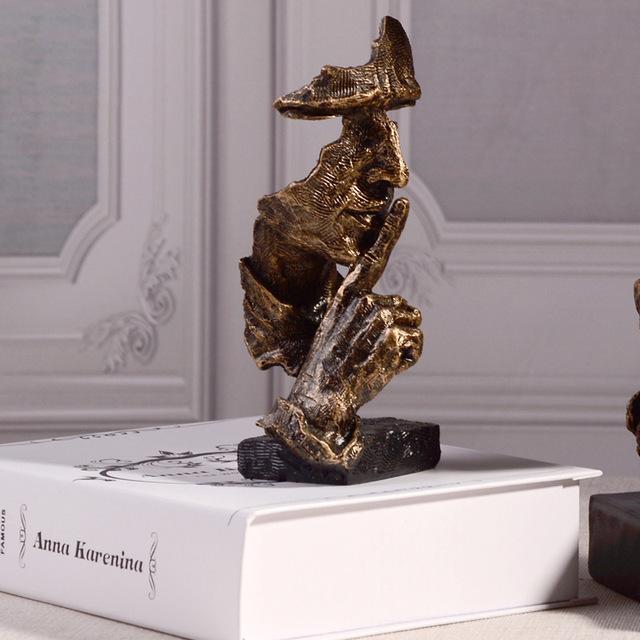 2019 resina arte silencio máscara figurillas silencio abstracto es oro estatuillas máscara miniaturas escultura decoración del hogar arte G