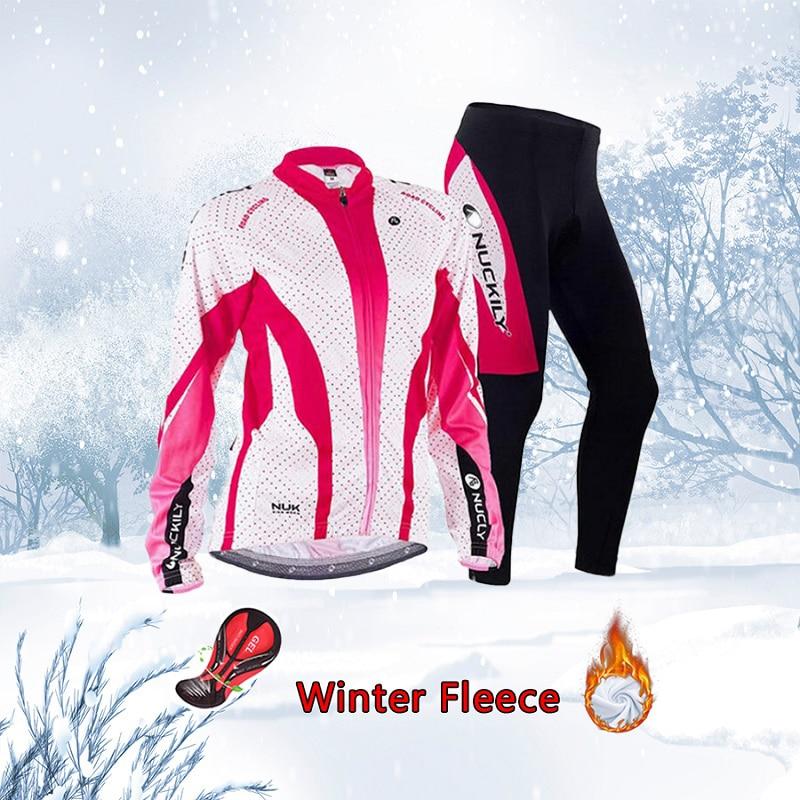 Cycling Clothing Women Set 2019 Winter Thermal Fleece Bike Jersey Warm Bicycle Clothes Ladies Dress Mtb Sport Suit Body Uniform