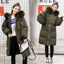 -30 degree Winter women jackets Big fur collar thick warm long parkas coat Solid loose hooded down plus size parka
